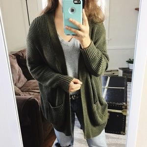 BDG | Army Green Open Front Oversized Cardigan Med